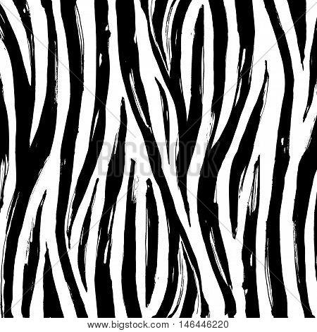 Zebra Print Background Pattern. Black And White