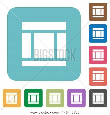 Flat Three columned web layout icons on rounded square color backgrounds.
