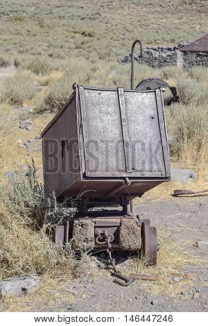 Old Mining Cart: up-close shot of an old mining cart, in the historic town, Bodie