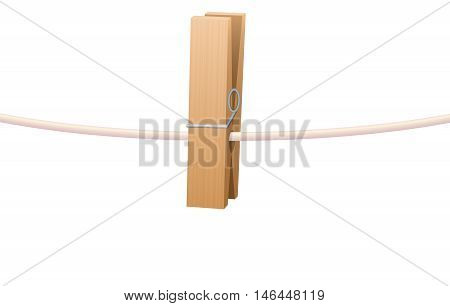 Clothespin on clothesline - one wooden item. Isolated vector illustration on white background.