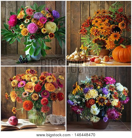 Collage with bouquets of autumn flowers. Still life with garden flowers.