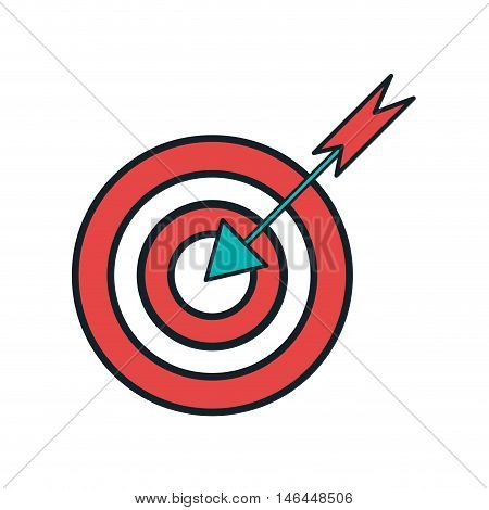 Red target with round shape and arrow. vector illustration