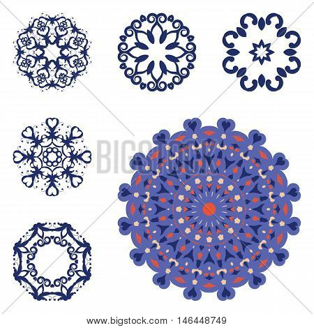 Set of mandalas on isolated background. Graphic templates for floral design, vintage decorative element in arabic, indian style. Anti-stress therapy patterns. Yoga logos. Oriental snowflakes vector.