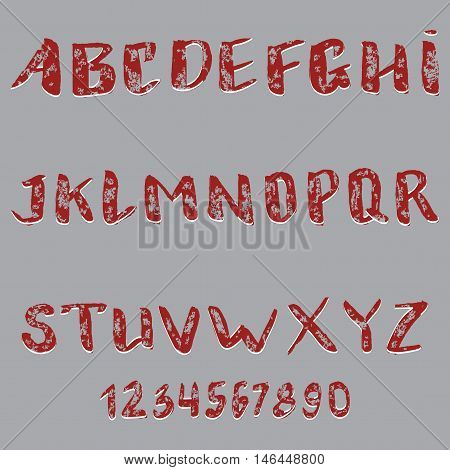 vector set of graphical English handwriting font
