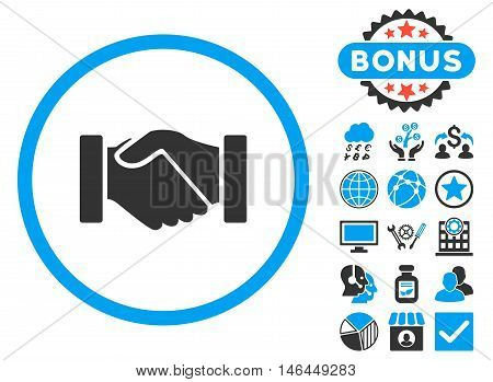 Acquisition Handshake icon with bonus. Vector illustration style is flat iconic bicolor symbols, blue and gray colors, white background.
