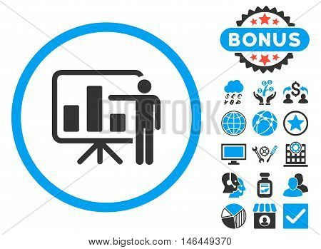 Bar Chart Presentation icon with bonus. Vector illustration style is flat iconic bicolor symbols, blue and gray colors, white background.