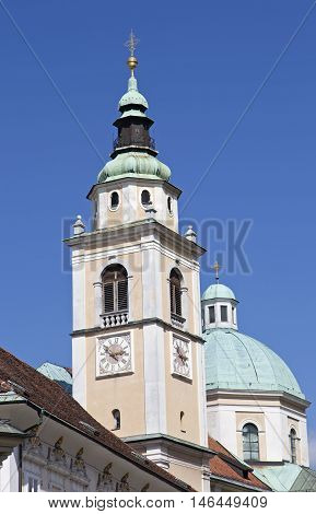 Ljubljana St. Nicholas Ljubljana, Slovenia, St. Nicholas cathedral steeple with clock steeple