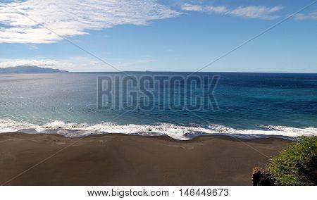Black Sand Beach On The Capital City Of Sao Filipe