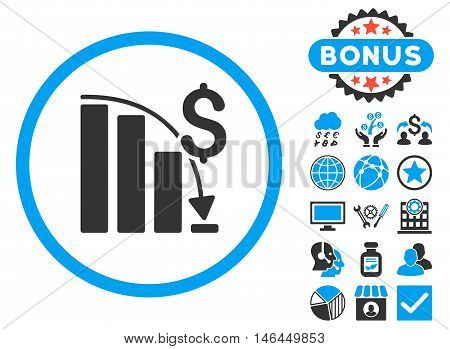 Epic Fail Chart icon with bonus. Vector illustration style is flat iconic bicolor symbols, blue and gray colors, white background.