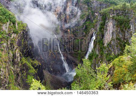 Stunning Voringfossen waterfall top view in Hordaland Norway