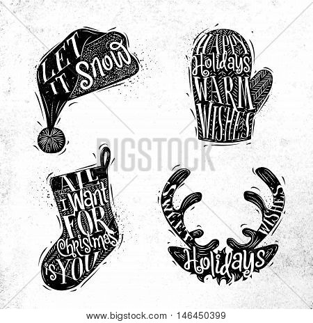Christmas vintage silhouettes Santa hat mitten deer sock with greeting lettering let it snow happy holidays warm wishes all i want for Christmas is you sweet holidays wishes drawing on dirty paper background