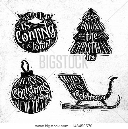 Christmas vintage silhouettes Santa's beard Christmas tree Christmas ball Santa's sleigh with greeting lettering Sants Claus is coming to town rockin around Christmas tree merry Christmas and happy New Year Holly Jolly celebration drawing on dirty paper b