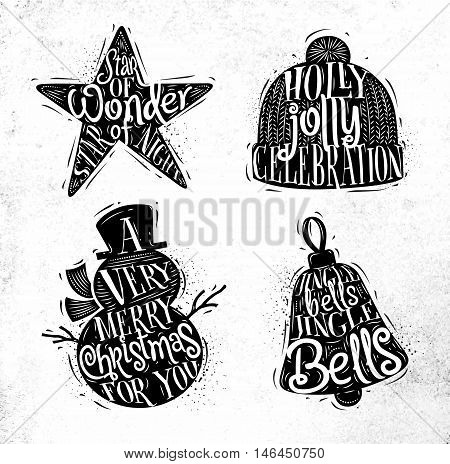 Christmas vintage silhouettes star snowman bell winter hat with greeting lettering star of wonder star of night holly jolly celebration a very merry christmas for you jingle bells jingle bells drawing on dirty paper background