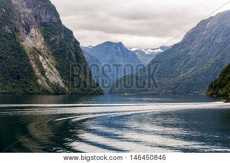 Scenic view of Aurlandsfjord reflections in Norway