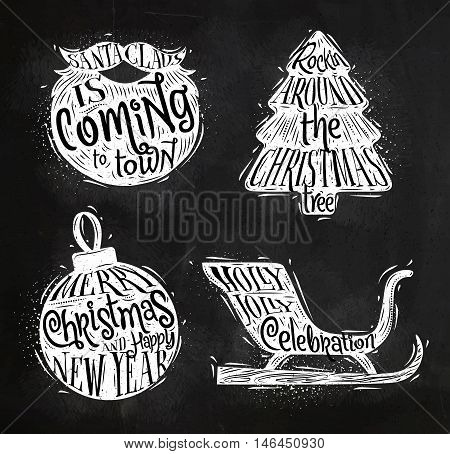 Christmas vintage silhouettes Santa's beard Christmas tree Christmas ball Santa's sleigh with greeting lettering Sants Claus is coming to town rockin around Christmas tree merry Christmas and happy New Year Holly Jolly celebration drawing with chalk on ch