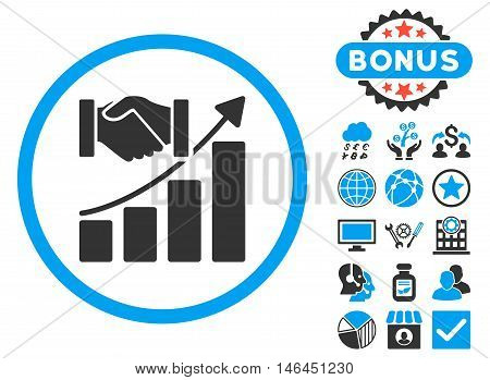 Acquisition Growth icon with bonus. Glyph illustration style is flat iconic bicolor symbols blue and gray colors white background.