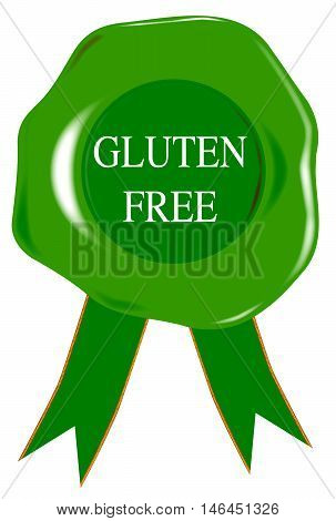 A green wax stamp with Gluten Free as text over white