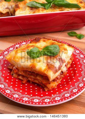 Lasagna Bolognese - classic italian pasta recipe. Shot from above close up