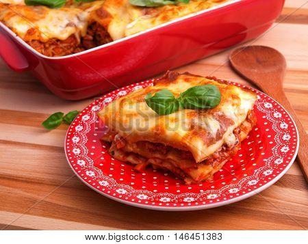Lasagna Bolognese - classic italian pasta recipe. Shot from above horizontal