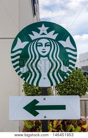 Starbucks Sign At Downtown Of Cancun City. Starbucks Is The Largest Coffeehouse Company In The World