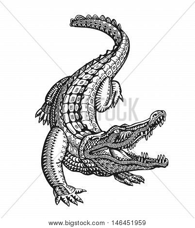 Crocodile, alligator or animal painted tribal ethnic ornament. Hand-drawn vector illustration with decorative elements