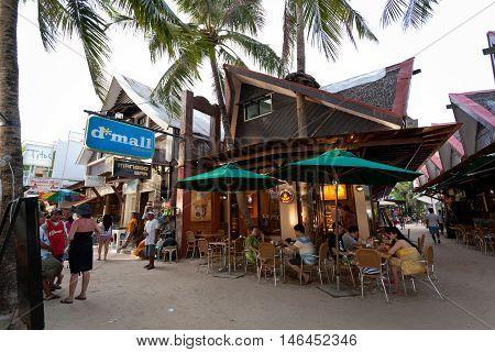 Local Shops And Bars On Boracay Long White Beach