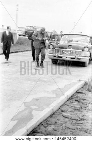 Yangiyer Uzbekistan - May 10 1963: Fidel got out of the car.
