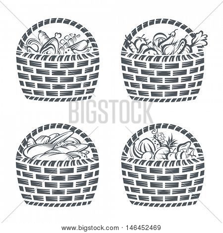 monochrome collection of baskets with sausages, fruit, vegetables and bakery