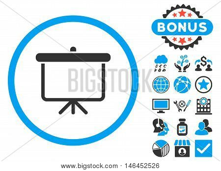 Projection Board icon with bonus. Glyph illustration style is flat iconic bicolor symbols, blue and gray colors, white background.