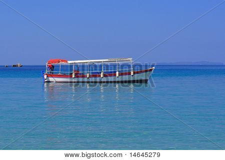 Fishing boat on the Ionian Sea in Greece