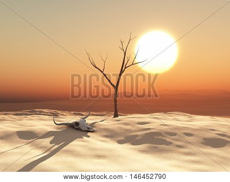 3d illustration of a desert landscape  with cow skull and dead tree