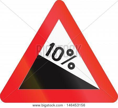 Belgian Warning Road Sign - Steep Hill Downward