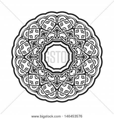 Vector circular ornament in eastern style. Ornate oriental element. Outline tracery for coloring book.