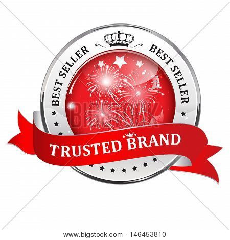 Trusted brand, best seller - shiny luxurious metallic red icon / ribbon for retailers