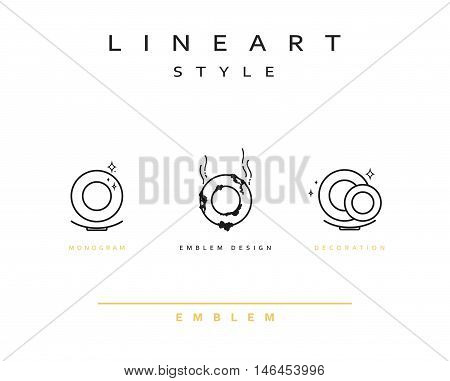 Plate icon style line art. Vintage plate icon. Monogram emblem design style lineart. Dirty clean dishes