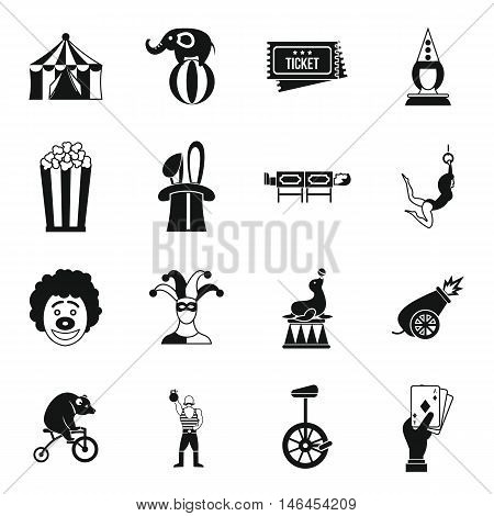 Circus entertainment icons set in simple style. Circus animals and characters set collection vector illustration