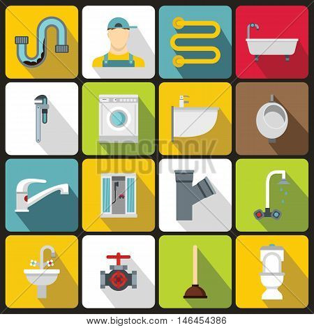 Plumbing icons set in flat style. Sanitary equipment set collection vector illustration