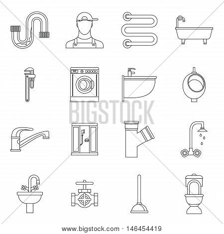 Plumbing icons set in outline style. Sanitary equipment set collection vector illustration