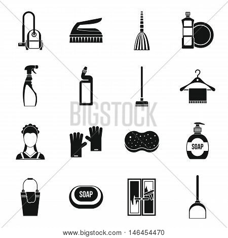 House cleaning icons set in simple style. Maid service set collection vector illustration
