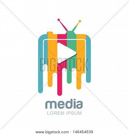 Media And Tv News Vector Logo Design Template.