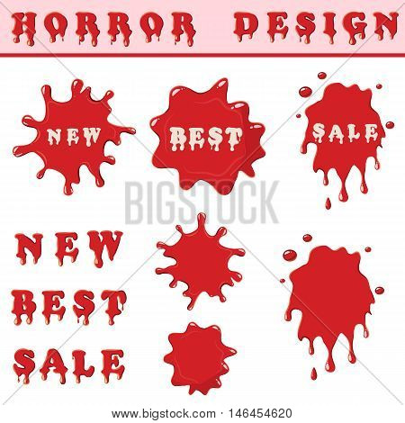 Blood splash with words new, best, sale isolated on white background. Red blood spots set collection vector illustration