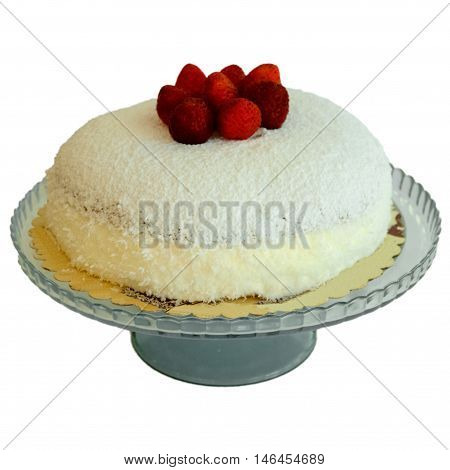 Delicious Strawberry Cake With Coconut On A White Background
