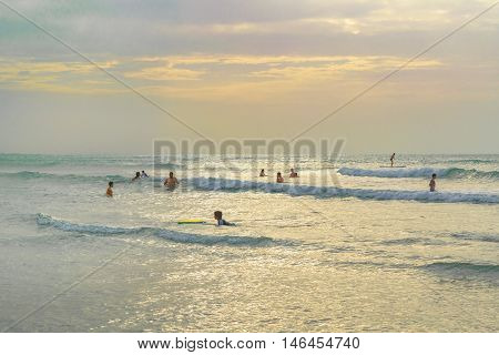 JERICOACOARA, BRAZIL, DECEMBER - 2015 - People bathing at the most famous beach of Jericoacoara in Brazil