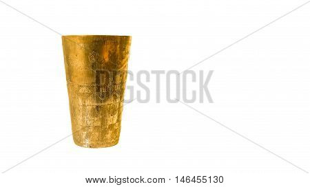 Antique copper cup on a white background