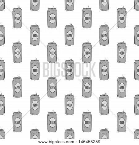 Aluminum beer seamless pattern on white background. Alcoholic beverage design vector illustration