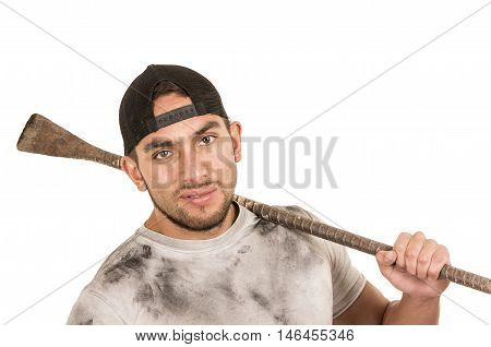 young muscular latin construction worker holding tool isolated on white