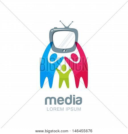 Abstract Happy People With Tv, Vector Logo, Icon, Emblem Design Template.