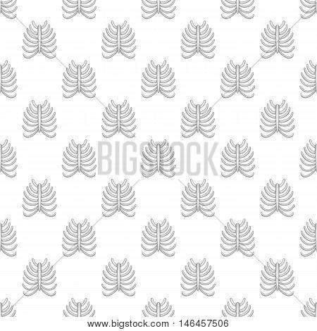 Ribs seamless pattern on white background. Human bones design vector illustration