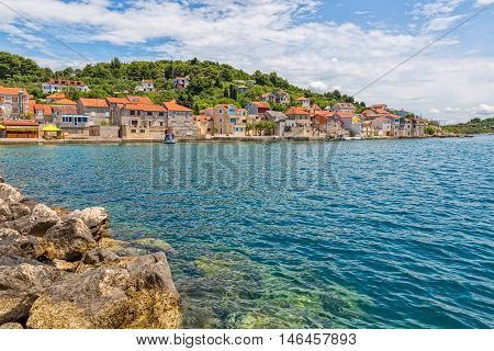 Panoramic picture of the small town Luka on island Prvic in Sibenik archipelago, Croatia.