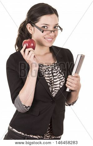sweet female teacher holding red apple isolated on white